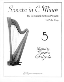 Sonata in Cm by Giovanni Battista Pescetti for Pedal Harp - Edited by Carlos Salzedo