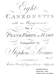 Eight Canzonetts for Medium Voice with Accompaniment for a Piano or Harp - Download -Stephen Storace