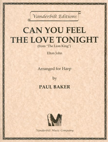 Can You Feel the Love Tonight from the Lion King by Elton John - Arranged for the Harp by Paul Baker