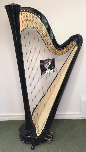 Aurora 47 Pedal Harp - Ebony Black Decorated - In Stock